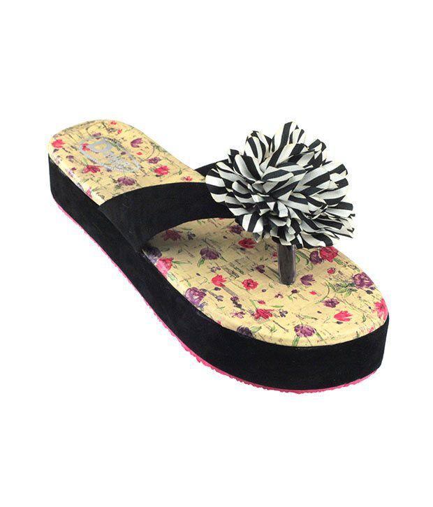 ec29b524d14db1 Dziner flower flip flop ladies casual wear chappal black g1 Price in India-  Buy Dziner flower flip flop ladies casual wear chappal black g1 Online at  ...