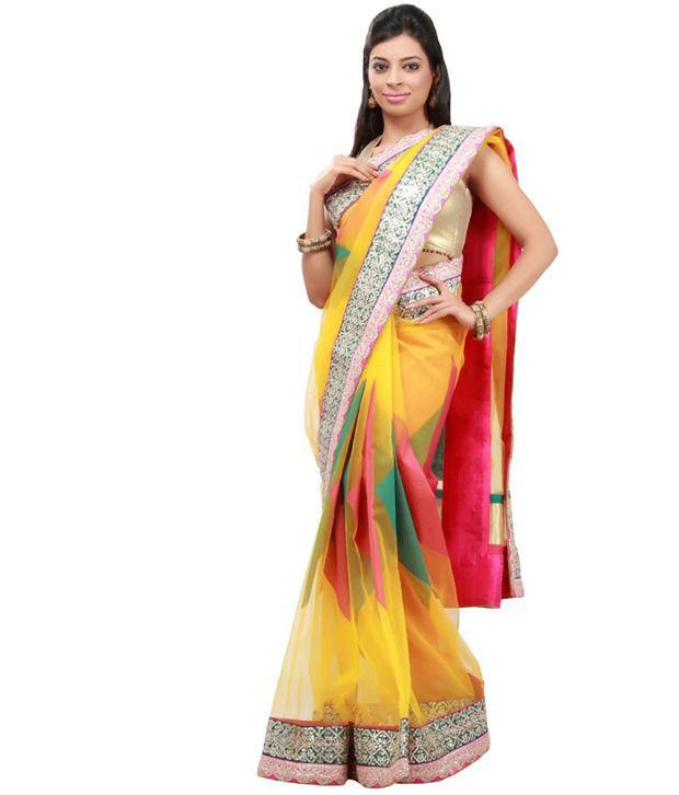 Kalki Yellow Border Work Net Saree With Unstitched Blouse