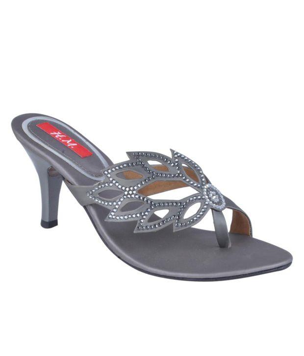 HM Studded Grey Slip-on Heels