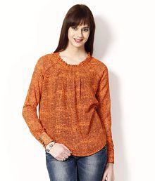 At499 Orange Poly Cotton Tops