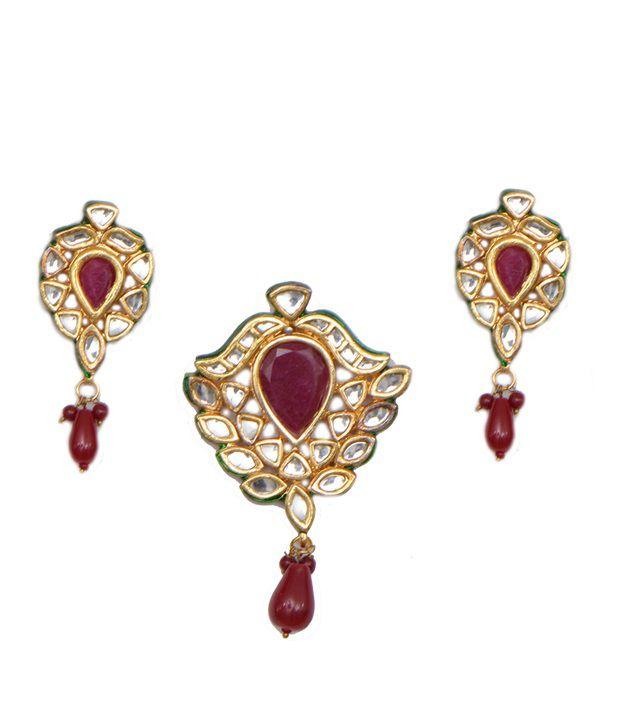 8b130ebe0 Ratnakar Ruby Jadtar Pendant Set - Buy Ratnakar Ruby Jadtar Pendant Set  Online at Best Prices in India on Snapdeal