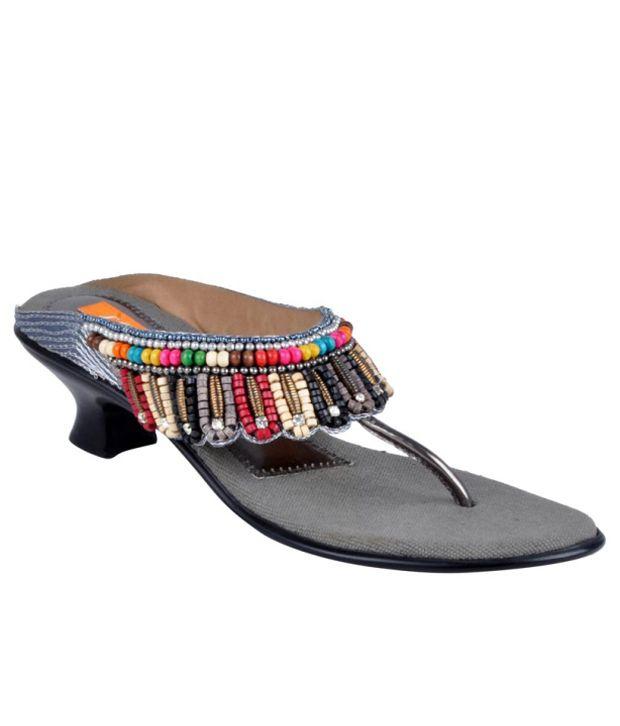 Looks Multicolor Beaded Slip-on Heels