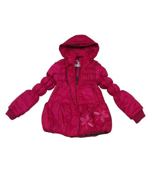 Sportking Dark Pink Full Sleeve Hooded Jacket For Kids