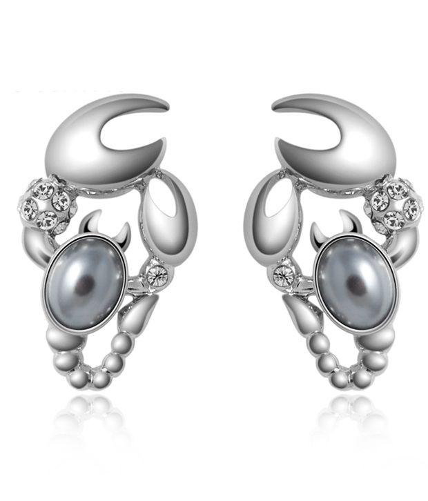 Everything Imported Austrian Scorpio Crystal Earrings - Pureplatinum