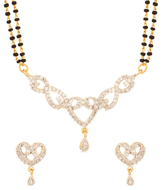 Voylla Mangalsutra Set With Sparkling Hearts Design