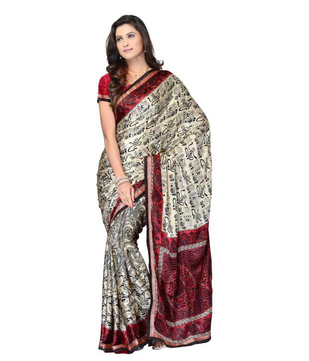 Manvi  Multi-Coloured Semi Chiffon Embroidered Saree