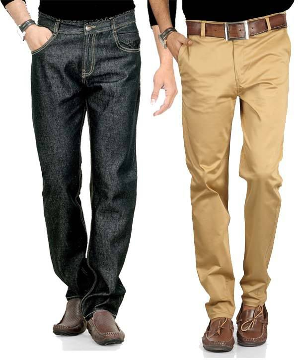 Phoenix Pack of Grey Jeans & Beige Chinos