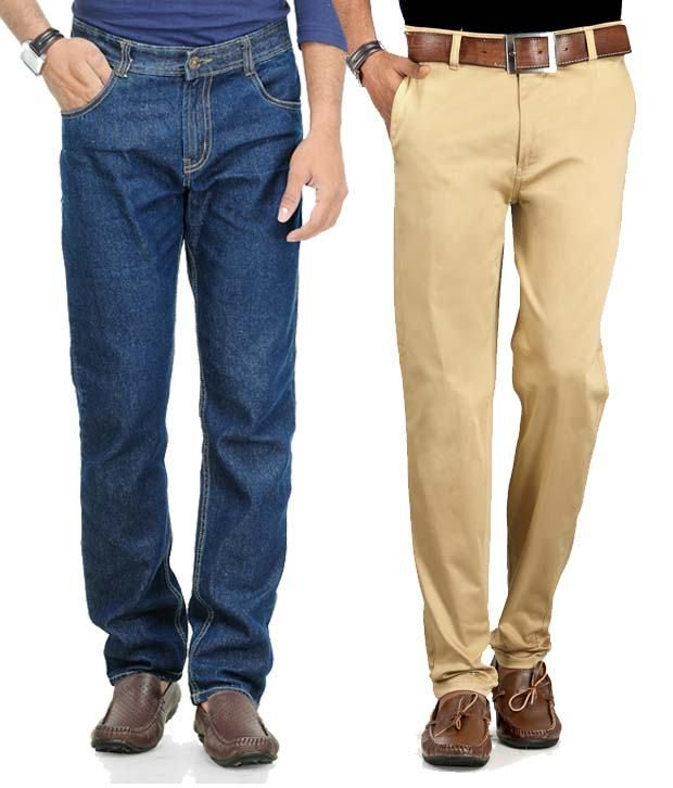 Phoenix Pack of Blue Jeans & Khaki Chinos