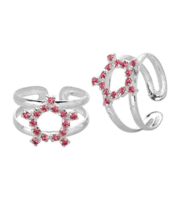 Voylla Toe Rings With Sparkling Pink Halo Design In Silver