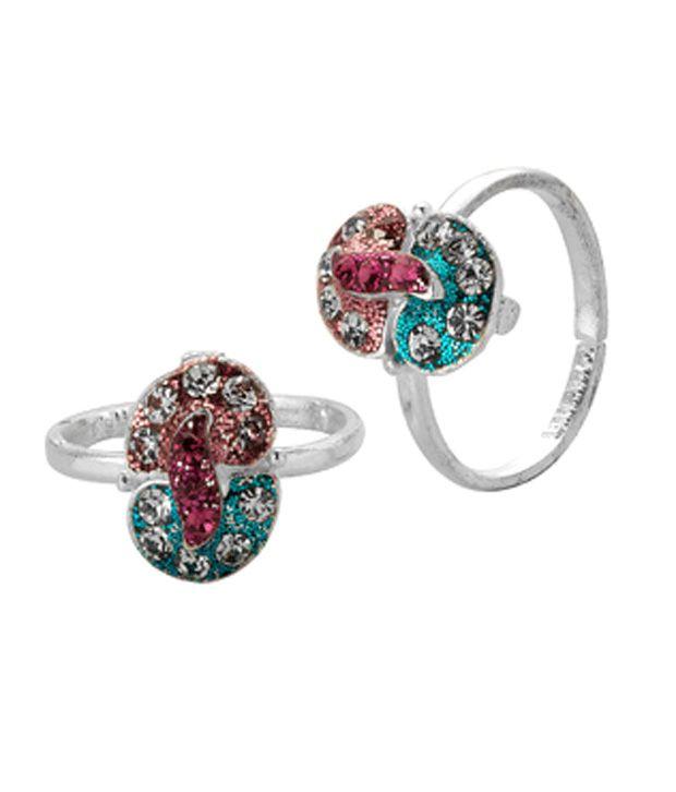 Voylla Magenta & Blue Sparkle Toe Rings