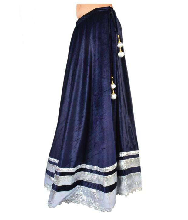Buy 9rasa Deep Blue Velvet Long Skirt Online at Best Prices in ...