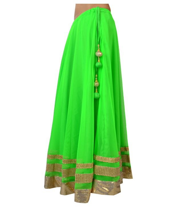 Buy 9rasa Neon Green Net Long Skirt Online at Best Prices in India ...