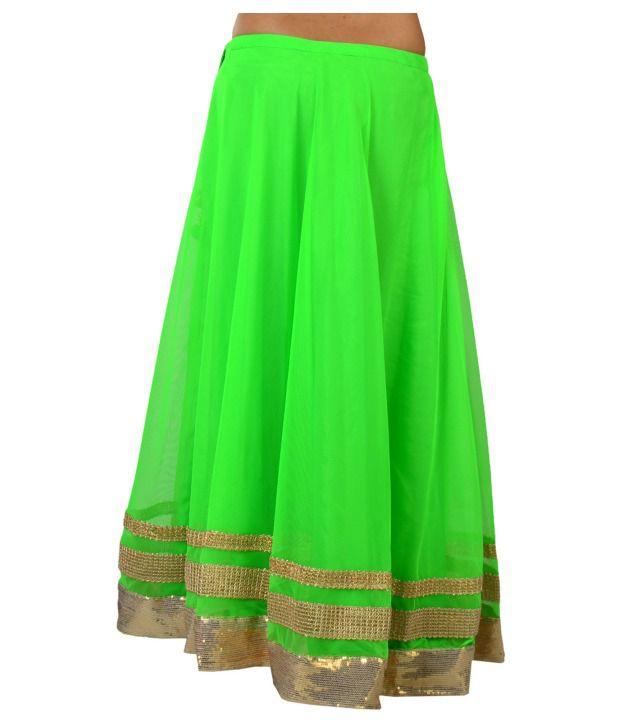 Buy 9rasa Neon Green Net Long Skirt Online at Best Prices in India ...