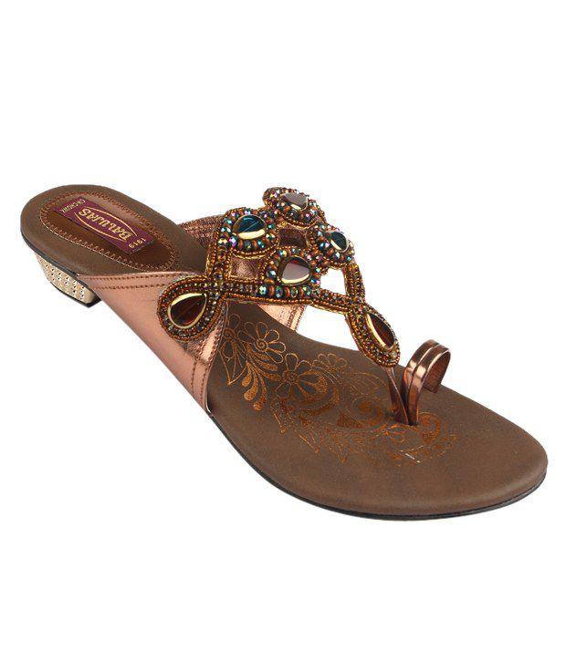Balujas Stylish Brown Slip-on Heels