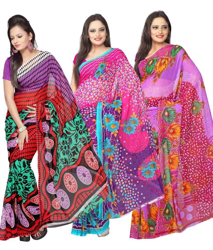 Silkbazar Multi Printed Faux Georgette Sarees Combo