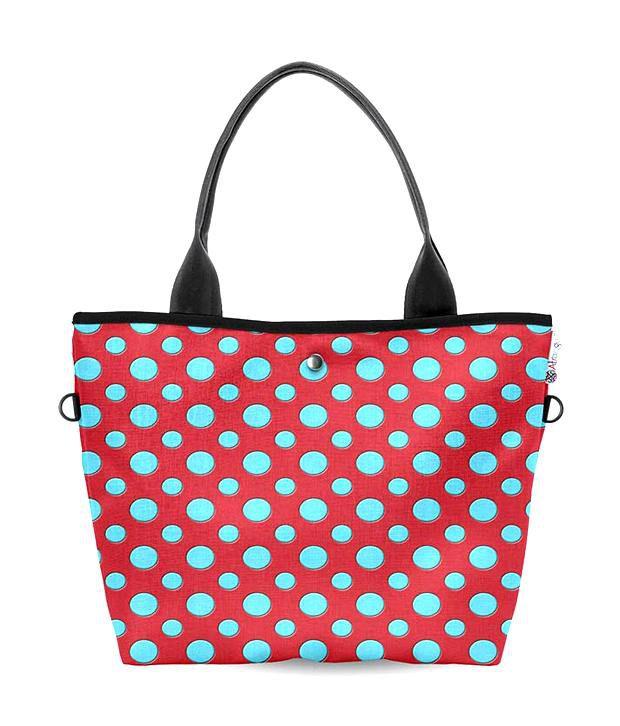 Atrangee Wide Red Polka Dots Tote Bag