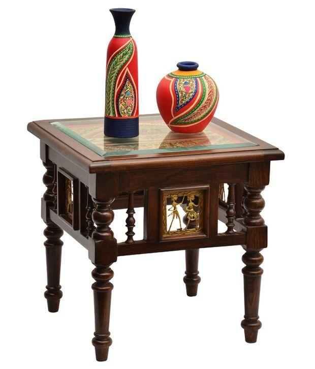 ExclusiveLaneTeak Wood Side Table With Dhokra and Warli Work