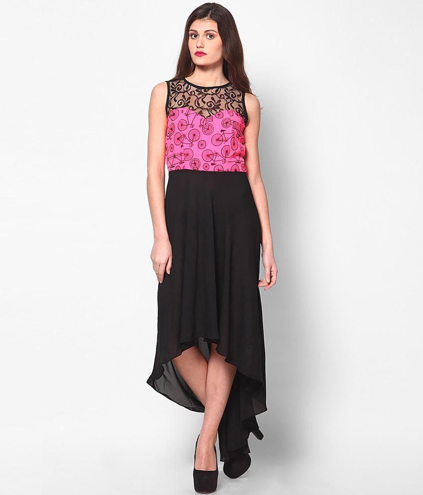 Athena Black Polyester Dresses