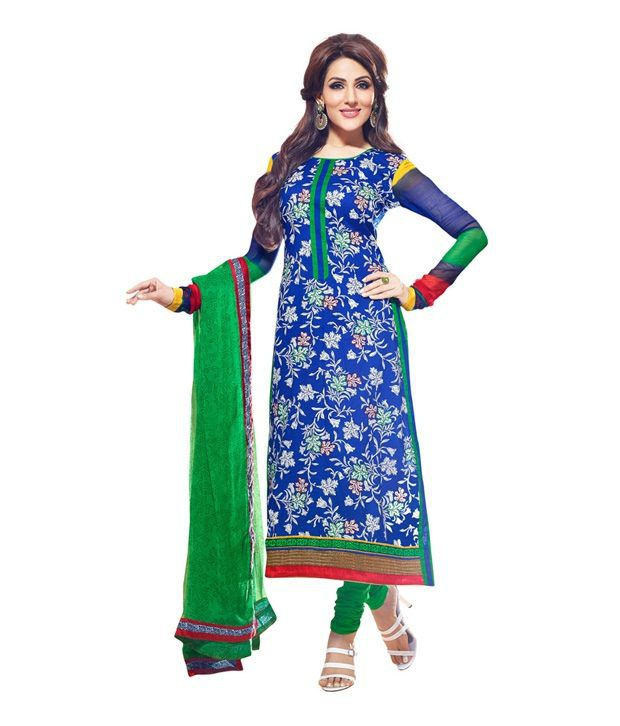 CottonBazaar Blue Color Pure Cotton Semi-Stitched Suit