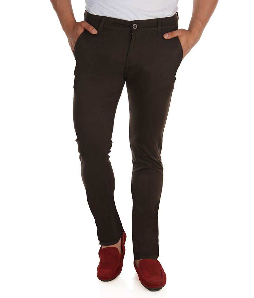 Fever Olive Green Stretchable Chinos