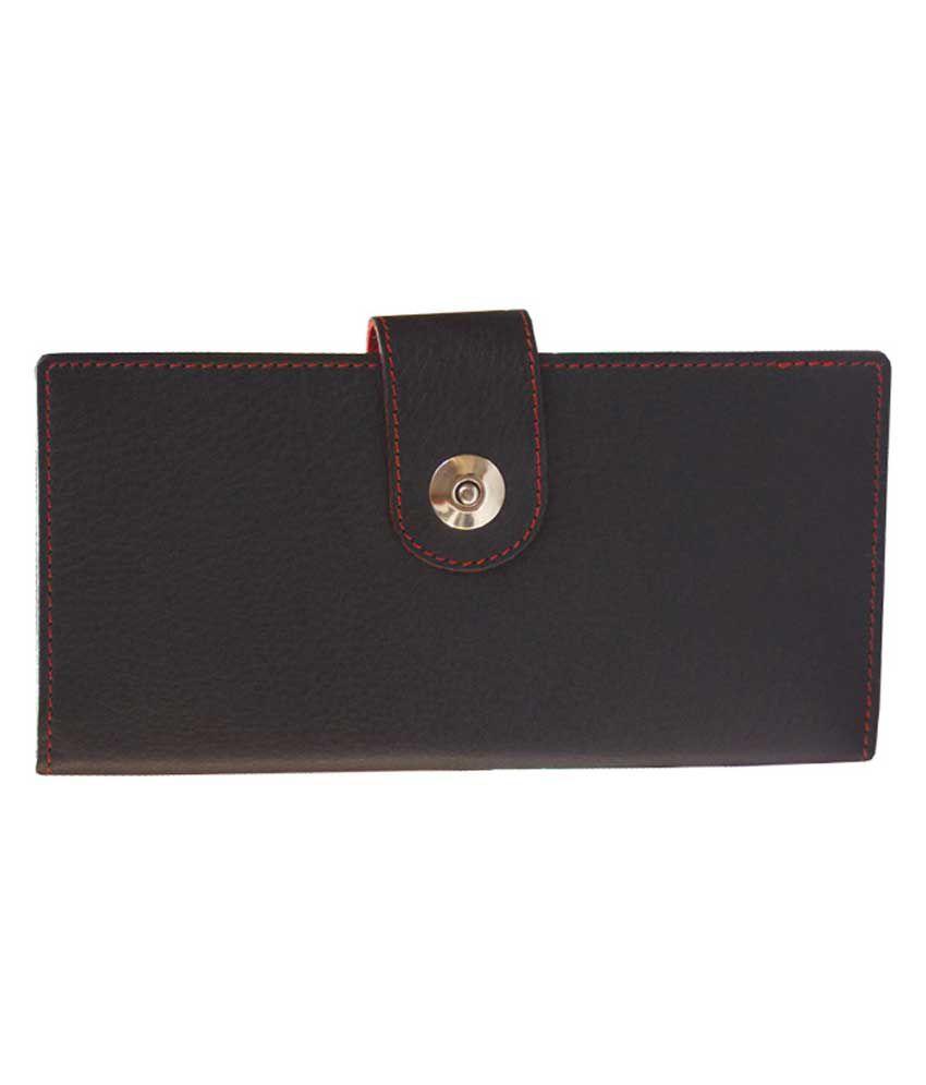 Hidemark Black & Red Leather Formal Wallet For Women