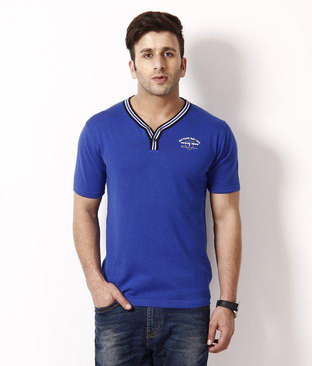 Octave Fashionable Casual Royal Blue Basic T Shirt