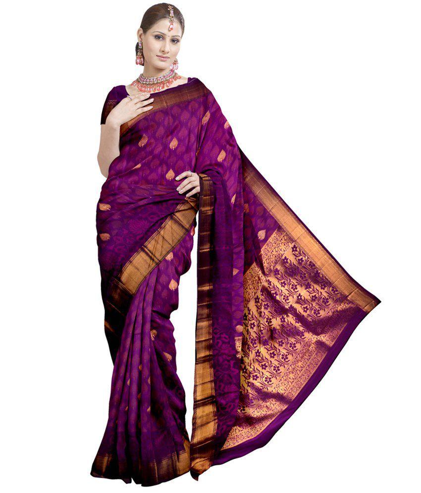 f7645c823136b9 Samyakk Awesome Purple Kanjeevaram Silk Saree - Buy Samyakk Awesome Purple  Kanjeevaram Silk Saree Online at Low Price - Snapdeal.com