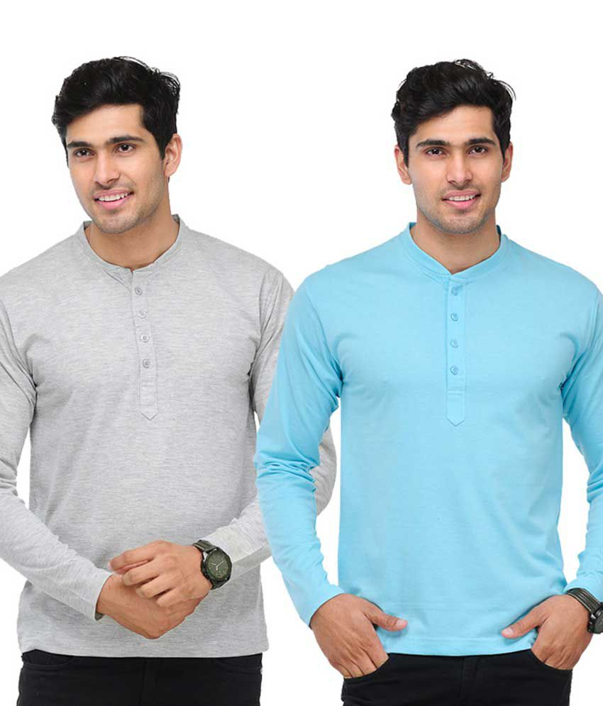 TSX Grey & Sky Blue Full Sleeves T-Shirts Pack of 2