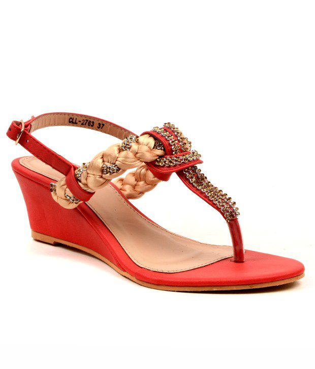 886c9b87a3 Carlton London Zesty Red And Golden Heeled Sandals Price in India- Buy  Carlton London Zesty Red And Golden Heeled Sandals Online at Snapdeal