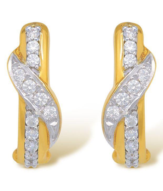 Ishtaa 18Kt HALLMARKED Gold  Signity Swarovski Stones Earrings