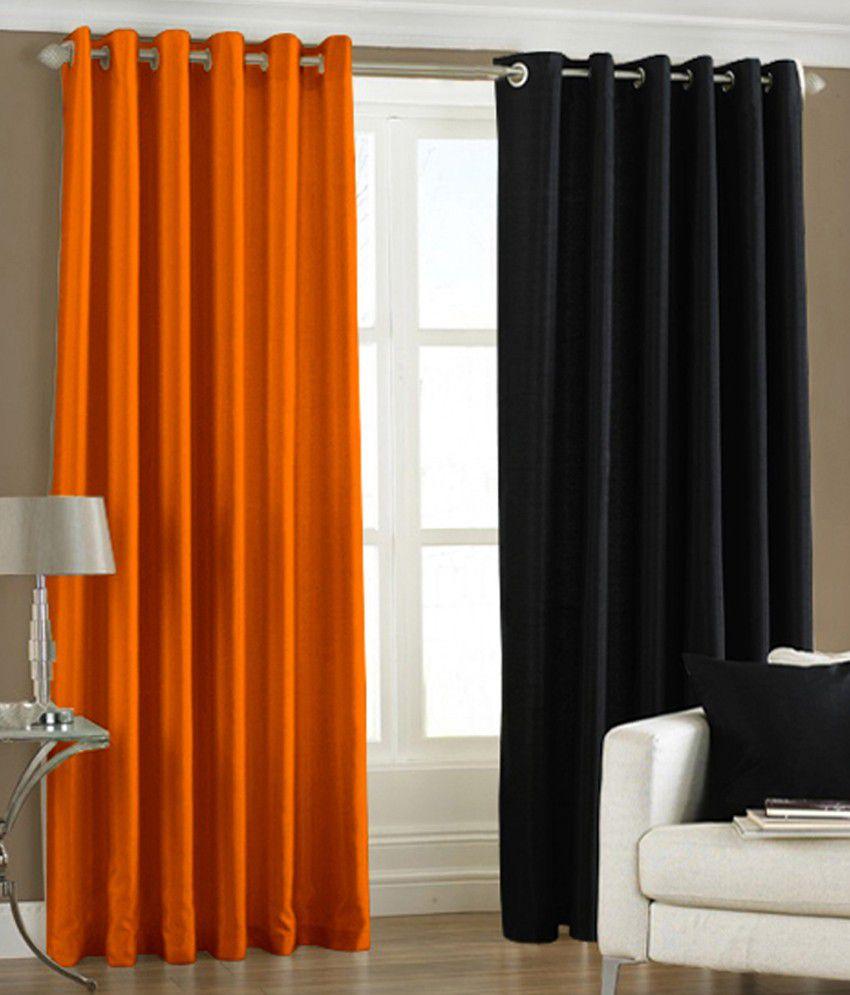 Pindia Set Of 2 Window Eyelet Curtains Solid Black Orange Buy Pindia Set Of 2 Window Eyelet
