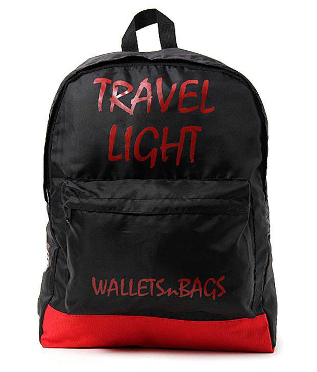 WalletsnBags Black & Red Backpack