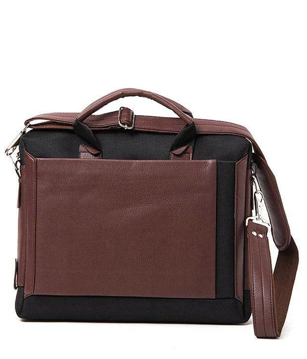 WalletsnBags Brown & Black Laptop Bag