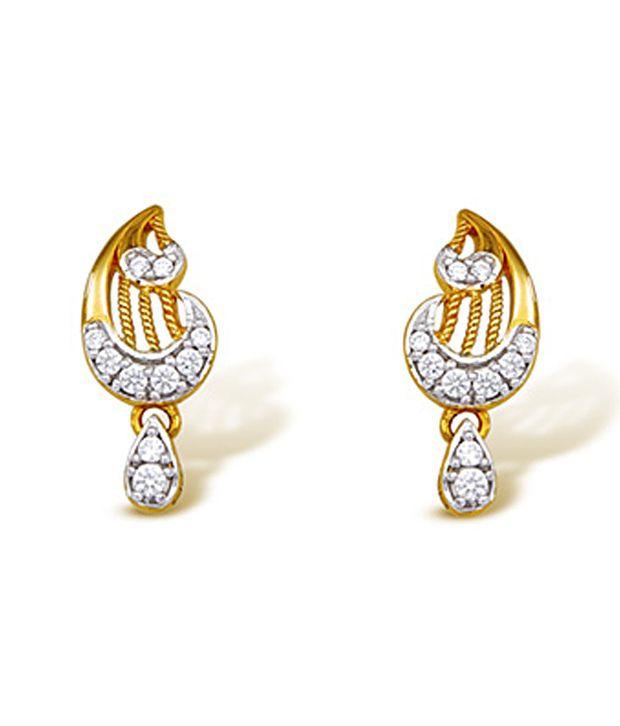 Ishtaa 18Kt HALLMARKED Gold  Signity Swarovski Stone Earring