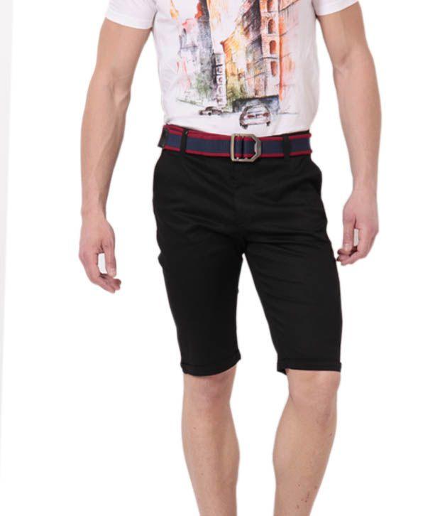 Phoenix Black Cotton Shorts