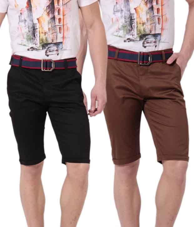 Phoenix Brown-Black Pack of 2 Cotton Shorts