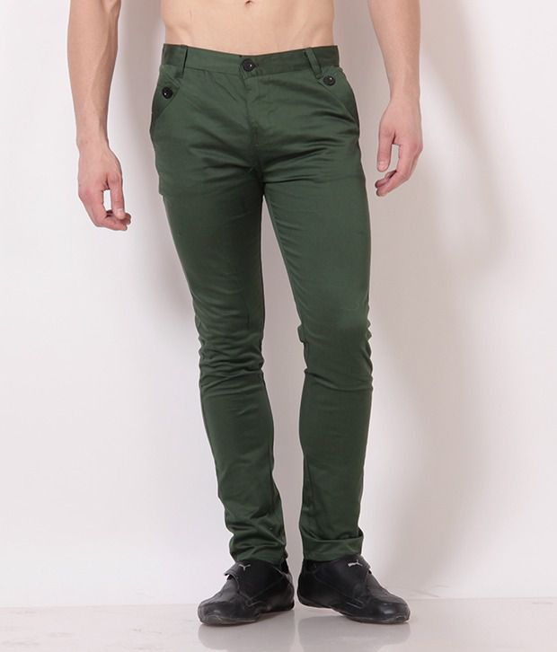 Ritchterscale Green Cotton Slim Fit Jeans