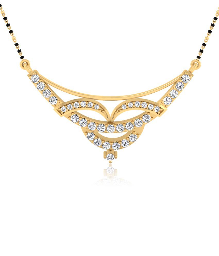 Forever Carat 0.42 ct Real Diamond Mangalsutra in 100% Certified 925 Sterling Silver