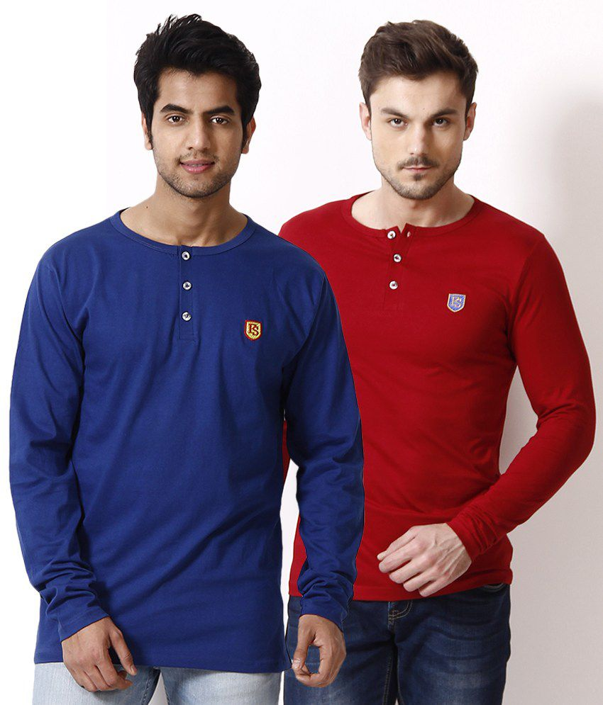 Free Spirit Pack of 2 Red-Royal Blue Henley T Shirts