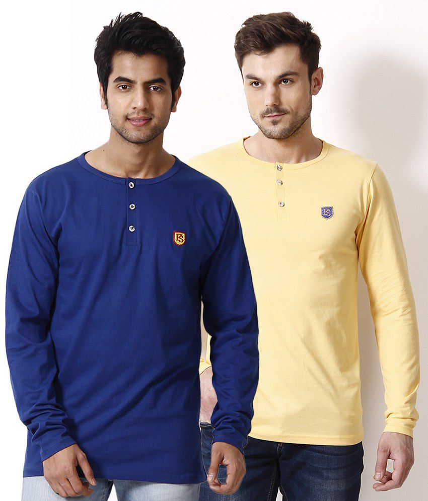 Free Spirit Pack of 2 Yellow-Blue Henley T Shirts