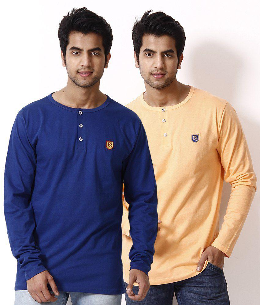 Free Spirit Pack of 2 Light Orange-Blue Henley T Shirts