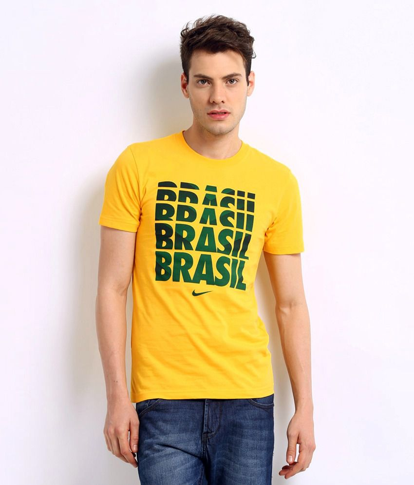 Nike Yellow Brazil Cotton Blend T-shirt