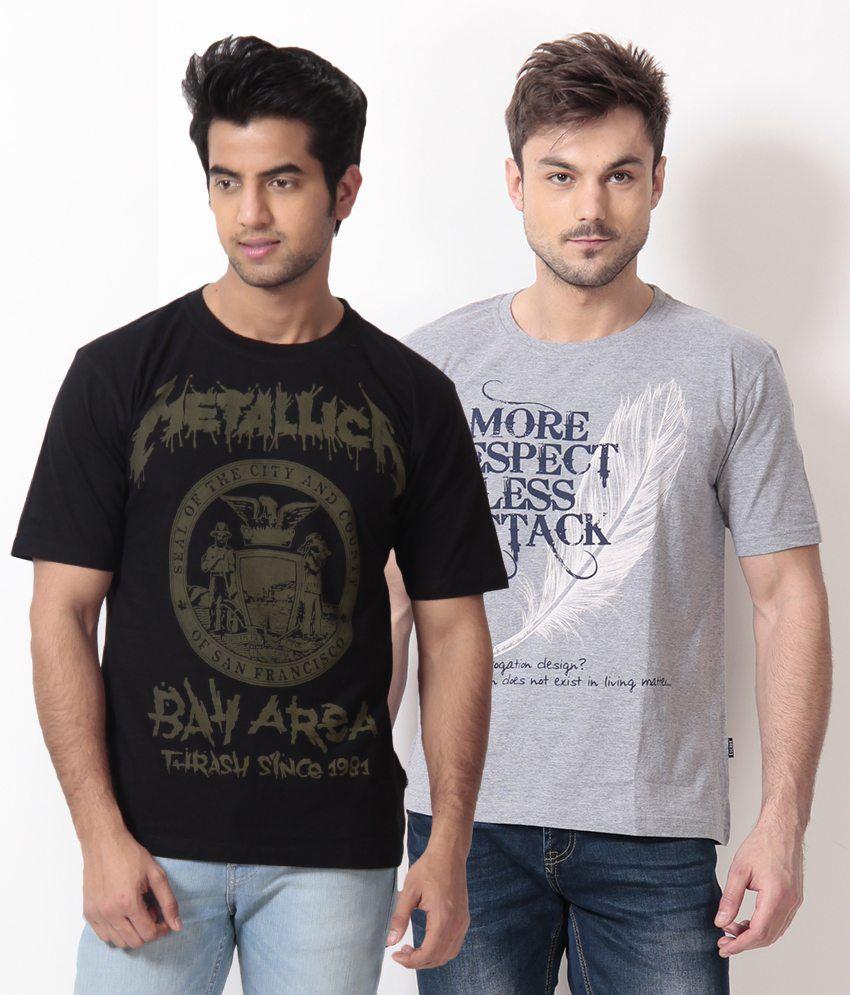 TSG Escape Black-Gray Pack of 2 Cotton T Shirts