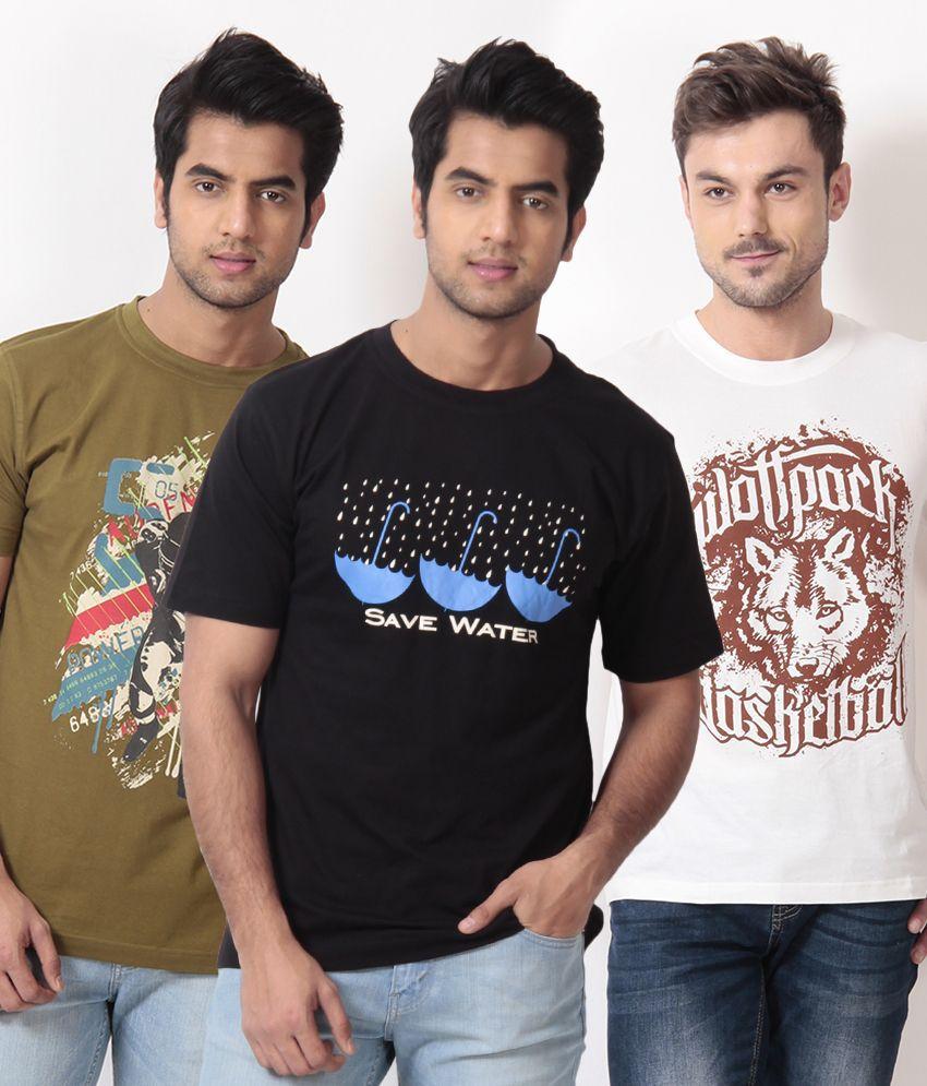 TSG Escape Olive-Black-White Pack of 3 Cotton T Shirts