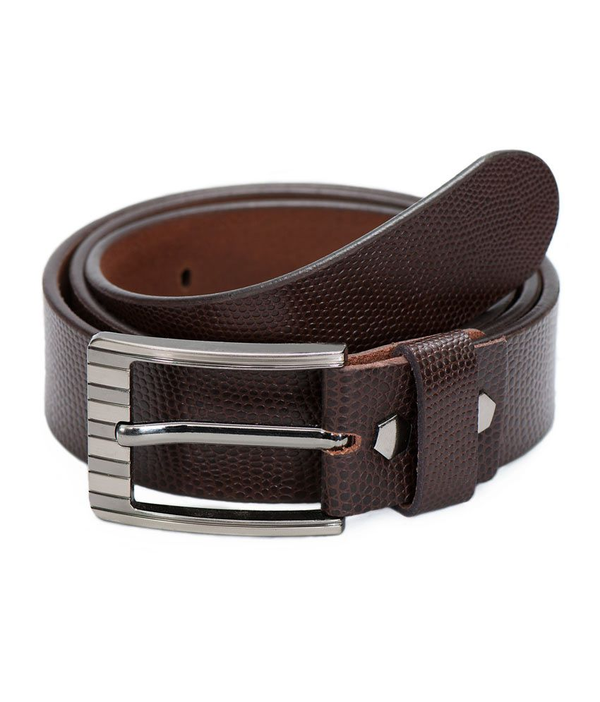 Vermello Brown Lizard Print Belt