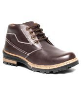Real Red Rugged Brown Ankle Length Casual Shoes RB001-Brown