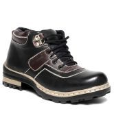 Real Red Sturdy Black & Brown Ankle Length Casual Shoes RB002-Black Brown