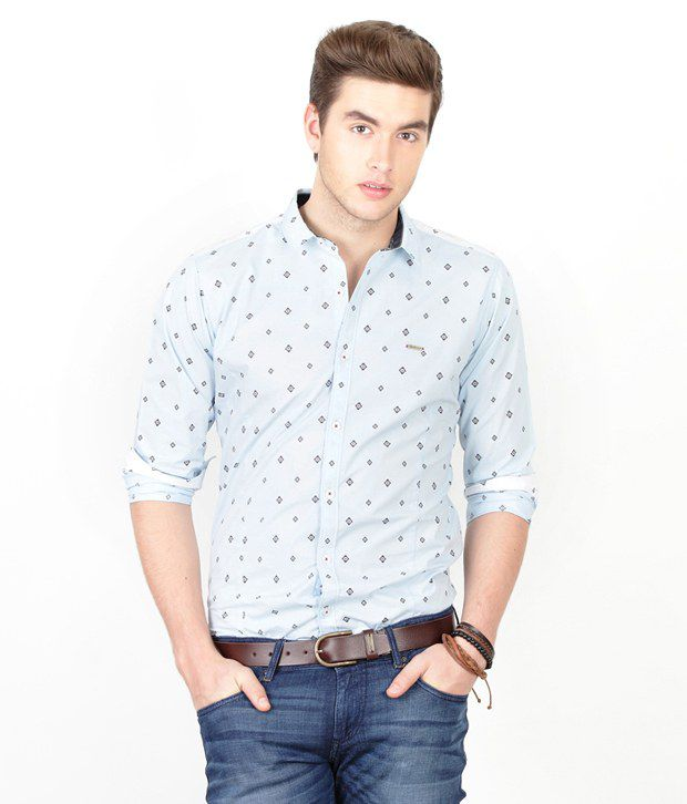 d5cb15df Basics 029 Light Blue Printed Shirt - Buy Basics 029 Light Blue Printed  Shirt Online at Best Prices in India on Snapdeal