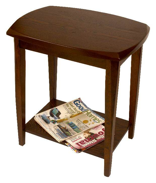 Durian Wooden Side Table Withparquetry Work On The Top & 1 Shelf With Wooden Legs