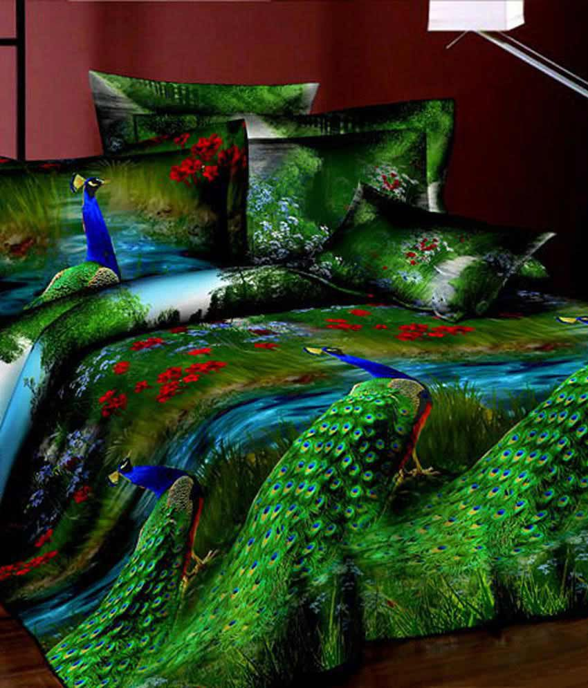 Fabhomes Peacock Print 3d High Quality Double Bedsheet